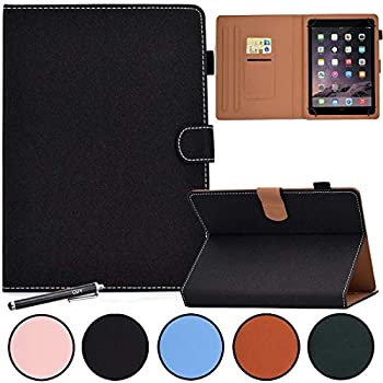 8 Inch Universal Case GSFY Anti-Slip Folio Stand Protective Case Leather Pocket Cover with Stylus Holder for iPad Mini/Samsung/Kindle/Huawei/Lenovo/HP/Asus/Acer/Sony 7.9-8.5 Inch Tablet GX-Black