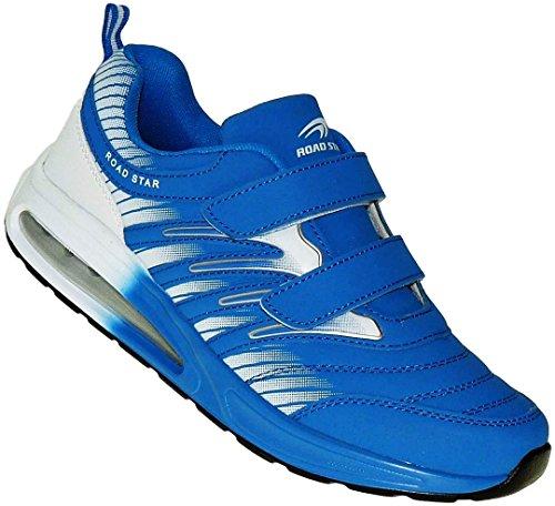 Bootsland Unisex Klett Sportschuhe Sneaker Turnschuhe Freizeitschuhe 001, Schuhgröße:43, Farbe:Blau/Weiß
