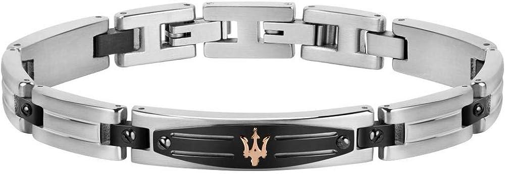 Maserati collezione jewels bracciale da uomo in acciaio, pvd gun, pvd oro rosa, pvd nero 8033288879503