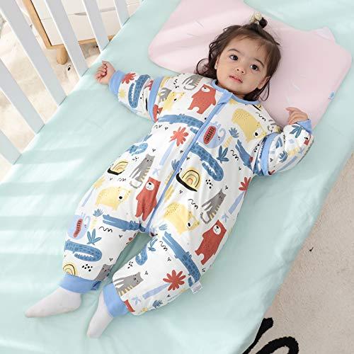Baby Schlafsack mit Beinen Warm gefüttert winter kinder schlafsack abnehmbaren Ärmeln,Junge Mädchen Unisex Schlafanzug (Red Bear,18-36 Monate(baby height 85-95cm)) - 6