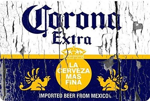 qidushop Corona Extra Beer Label Vintage Look Reproduktion Metallschilder Lustiges Aluminiumschild für Garage, Haus, Hof, Zaun, Auffahrt, 20 x 30 cm