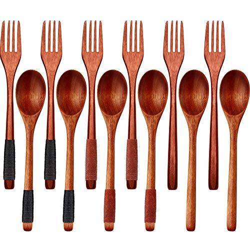 12 Pieces Wooden Spoons Forks Set Wooden Flatware Set Japanese Style Wood Cutlery Set Reusable Wood Spoons Forks Natural Wooden Tableware Set for Household Restaurant Kitchen Dinner Utensils 9 Inch