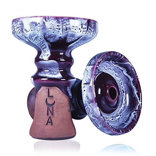 Premium Luna Shisha Phunnel Kopf Crater für Smokebox - HMD - Alufolie | Glasierter Schamott Steinkopf mit Ton | Intensiver Geschmack und Rauch (Violet)