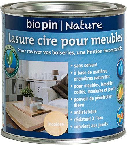 Biopin Lasure Cire Naturelle pour Meubles 0,375 L - Incolore