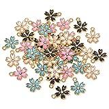 Honbay 40PCS Enamel Cherry Blossom Flower Charm Pendant for Jewelry Making or DIY Crafts