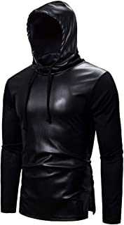 Men's Hoodie Men Tops Faux Leather Short Sleeve/Long Sleeve Hoodie New Drawstring Lightweight Fashion Slim Party Men Leath...