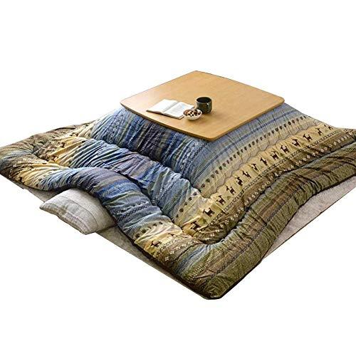 FMXYMC Kotatsu Heiztisch mit Heizung/Decke/Bettdecke, japanischer Tatami Futon Couchtisch, 80x80cm Massivholz quadratische Tische, für zu Hause,B