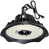 Hykolity 150W UFO LED High Bay Light Fixture, 19500lm 1-10V Dimmable 5000K 5' Cable with US Plug DLC Complied [250W/400W MH/HPS Equiv.] Commercial Warehouse/Workshop/Wet Location Area Light