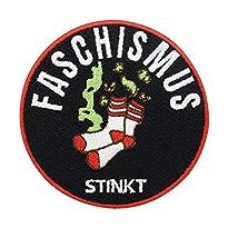 Faschismus Stinkt Patch zum Aufbügeln   FCK NZS Patch, 7 x 7 cm