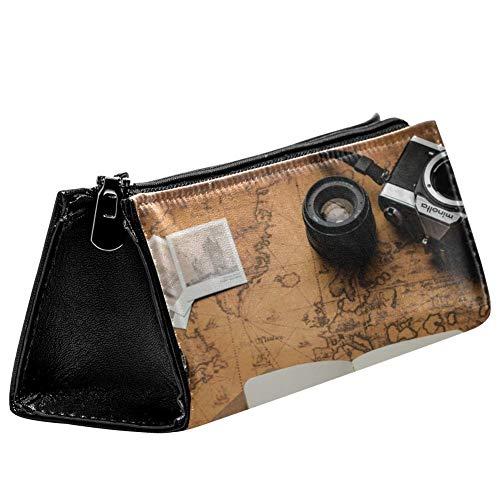 EZIOLY Vintage Old World Map Fotokameras, Notizbuch, Lupe, Stifteetui, Stifteetui, Kosmetiktasche, kompakt, mit Reißverschluss