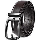 NEWHEY Cintura Uomo Pelle Casual Formali Cinture Uomo Pelle Cintura Confezione Regalo 32mm Marrone 125cm