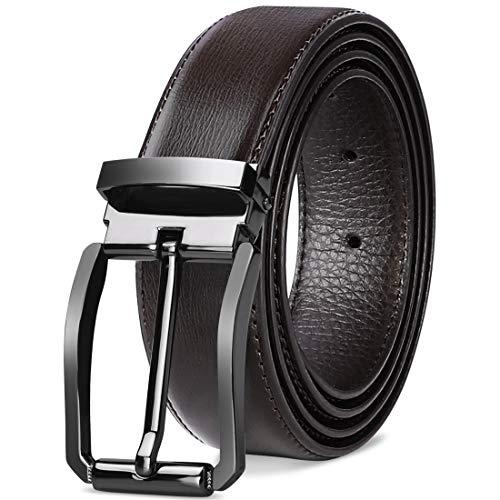 NEWHEY Cinturon Hombre Cuero Cinturones Piel Jeans Cinturón Hombre 32mm Trabajo Clásico 115cm...