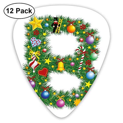 Gitaar Picks12 stks Plectrum (0.46mm-0.96mm), Lekkere Snoep Riet En Figuur Met Top Hoed Pak Kerstboom Ontwerp Met B Print,Voor Uw Gitaar of Ukulele