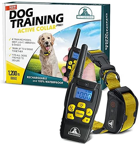 Pet Union PT0Z1 Dog Training Shock Collar, Fully Waterproof, 1200ft Range (Yellow)