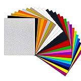 Láminas para plóter textil, 26 unidades, 30,48 cm x 25,4 cm, para camisetas y tejidos (20 colores habituales y brillantes)