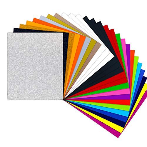 HTVRONT Plotterfolie Textil - 26 Pack Flexfolie 30.48 cm x 25.4 cm für T-Shirts & Stoffe(20 Farben Gewöhnlich und Glitzer)