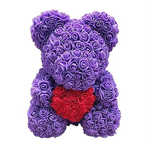 Starter Rose Bear, poupée en Peluche en Forme de Fleur simulée à la Main en Mousse PE pour Petite Amie, Cadeaux d'anniversaire créatifs pour Le Mariage de la Saint-Valentin, 382828cm.