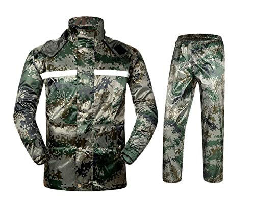 Insun Adultes Ensemble Veste et Pantalon Imperméables Coupe Vent avec Bandes Réfléchissantes Haute Visibilité Camouflage L
