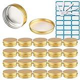 TIANZD 25 Stück 100 ml Gold Leere Rund Aluminium Dosen Tins mit Schraub-Deckel Alu-Tiegel...