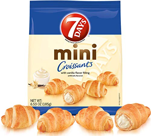 7Days Mini Croissants, Vanilla, Breakfast Pastry or Snack, Non-GMO (Pack of 4 Large Bags)