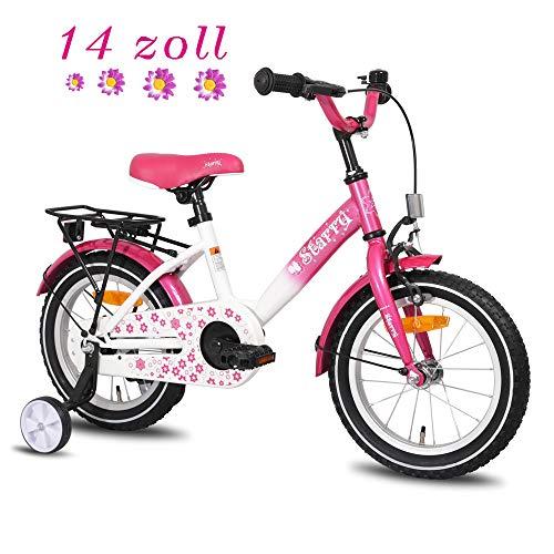 HILAND Starry 14 Zoll Kinderfahrrad für Mädchen 3-5 Jahre mit Stützräder, Handbremse, Rücktritt und Rücksitz/Gepäckträger Pink
