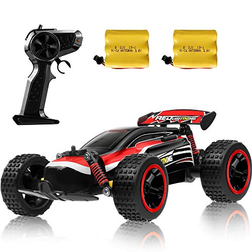 RC Racing Car, 2.4Ghz High Speed Remote Control Car, 1:18 2WD Toy Cars Buggy for Boys & Girls with Two Rechargeable Batteries for Car, Gift for Kids(Red)