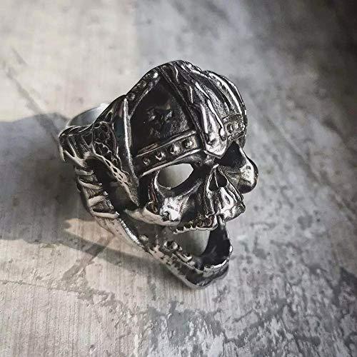 RNXRB Herren Edelstahl Ring Retro Herren Wikinger Schädel Schädel Axt Berserker Symbol Nordischer Schmuck Biker Modeschmuck Ehering Zubehör Ringe 11 Silber