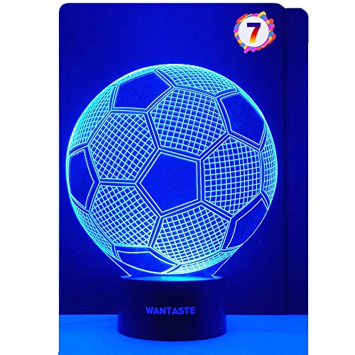 WANTASTE 3D Soccer Ball Lamp, Optical Illusion Night Light for Room Decor & Nursery, Cool Birthday Gifts & 7 Color Changing Toys for Kids, Girls, Boys, Father & Sports Guy
