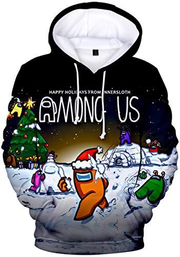 Chaos World Herren Among Us Hoodie 3D Spiel Sweatshirt Langarm Casual Streetwear Pullover(Weihnachten,M)