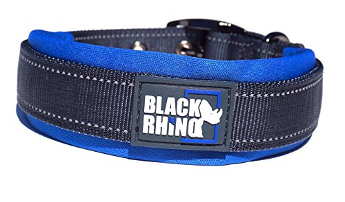 Black Rhino - The Comfort Collar Ultra Soft Neoprene Padded Dog Collar for All Breeds - Heavy Duty Adjustable Reflective Weatherproof (Large, Blue/Grey)