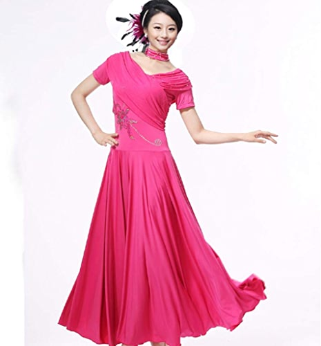 SMACO Robes de Danse de Salon Moderne Jupe de Danse Robe de Danse de Salon Jupe de Danse de Salon avec Appliques de Diahommet Manches Courtes