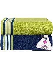 Casa Copenhagen He & She Collection 2 Pieces Large (75 cm x 150 cm) Cotton Bath Towel Set - Pack of 2 (Iris Blue & Spring Green 70 cm x 140cm)