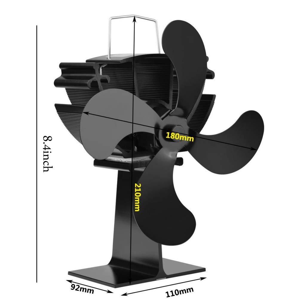 EFINNY Estufa Negra Ventilador de 4 Palas Ventiladores de Estufa con alimentación de Calor para Chimenea Montado en ...