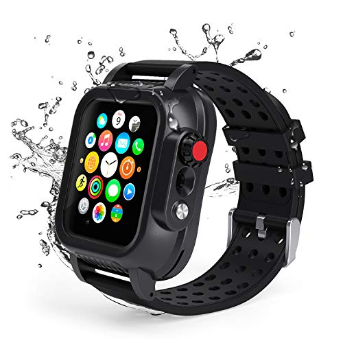 Lanhiem Custodia Apple Watch 40mm Impermeabile, Cover iWatch Series 4[IP68 Certificato Waterproof] Resistente agli Urti Antiurto Antineve Antipolvere AntiGraffio,Nero
