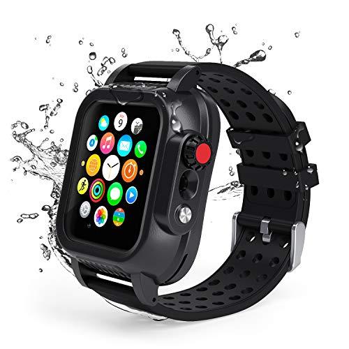 Lanhiem für Apple Watch Seire 4 44mm Hülle, IP68 wasserdichte robuste Schutzhülle mit eingebautem Displayschutz und Ersatzarmband für Apple Watch Serie 4 [44 mm]