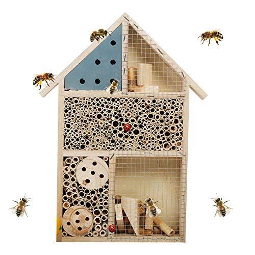 KiGoing Insektenhotel 25x35x17 cm,Bienenhotel Insektenhaus als Unterschlupf für Käfer, Bienen und andere Insekten Bienenhotel aus Naturmaterialien Insektenhaus aus Holz