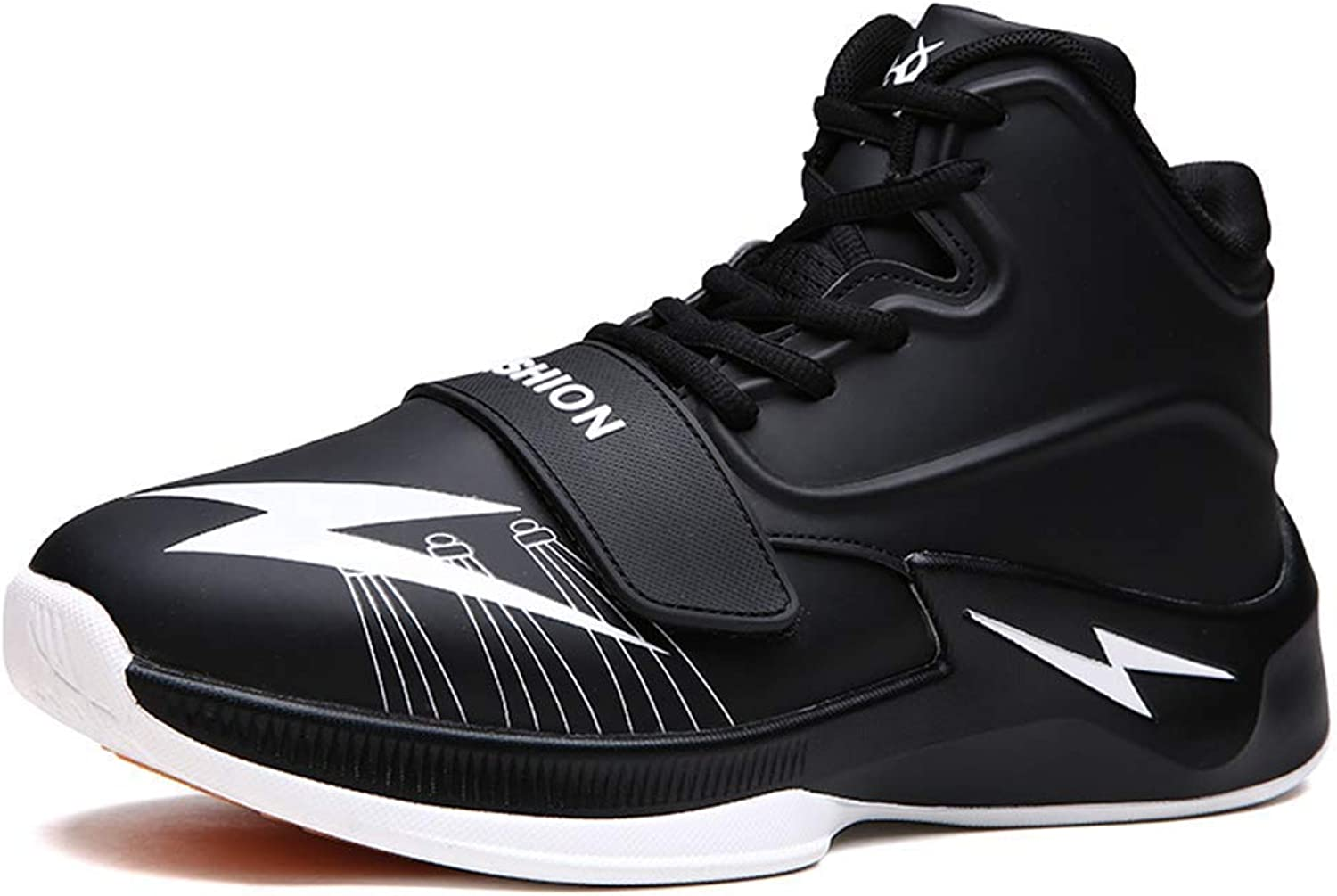 ZHRUI Men Basketball shoes Breathable Outdoor Athletic Training Cushioning Non-Slip Ankle Sport Boots Male Sneakers (color   Black, Size   10=45 EU)