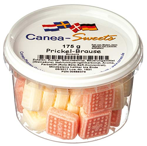 Canea-Sweets Fruchtige Brausebonbons Himbeere + Zitrone, PRICKEL Brause Bonbons Dose, 1er Pack (1 x 175 g)