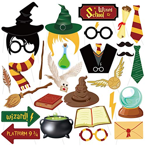 27PCS Magical Wizard Party Photo Booth Props,Wizard Castle Party Photo Booth Props for Kids Birthday Wizard School Party…