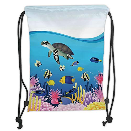 Fevthmii Drawstring Backpacks Bags,Whale,Illustration of Sea Anemone Turtles Goldfish Snorkel Tropical Seascape Cartoon,Light Blue Yellow Soft Satin,5 Liter Capacity,Adjustable String Closu