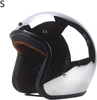 Cuatro Estaciones Hombres y Mujeres Harley Motocicleta Retro Casco Espejo Reflexión Chapado Plata Medio Casco Personalidad