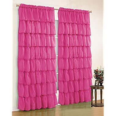 Mk Collection Gypsy Crushed Ruffle Sheer Curtains - 55  Width By 84  Inch Length (pink)