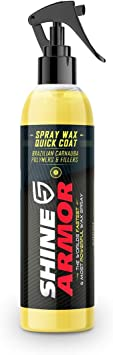 Shine Armor Spray Wax Quick Coat with Carnauba Wax Car Wax - Hydrophobic Car Polish for Waterless Car Wash and Shine - Ceramic Coating Car Wax Polish Sealant and Paint Protection (8oz.): image