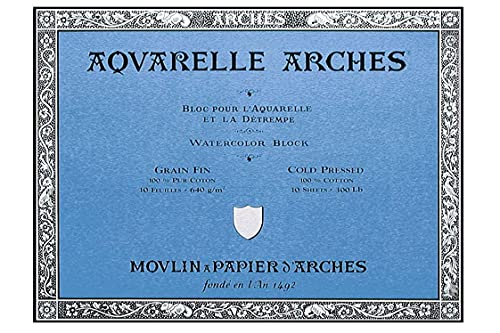 Arches 12-Inch x 16-Inch Acid-Free Cold-Press Watercolor Paper Block