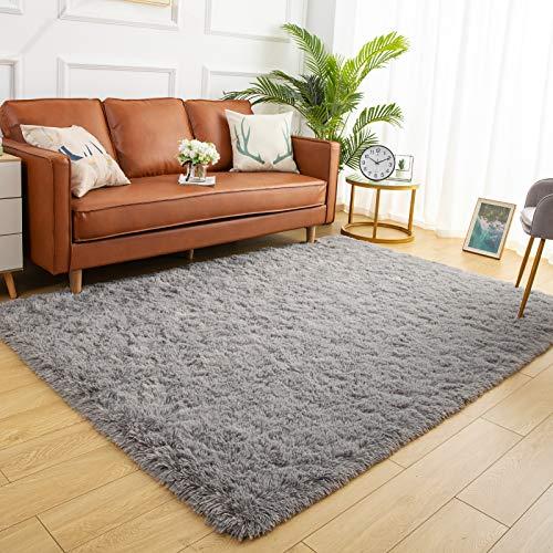 YJ.GWL Soft Shaggy Area Rugs for Bedroom Fluffy Living Room Rugs Anti-Skid Nursery Girls Carpets Kids Home Decor Rugs 4 x 5.3 Feet Grey
