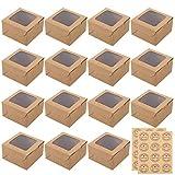 Pveath Mini cajas de pasteles,24 piezas caja de papel kraft con ventana y 24 piezas adhesivas,cajas de papel kraft para alimentos,galletas,pan,caramelos,rebanadas de pastel y postres