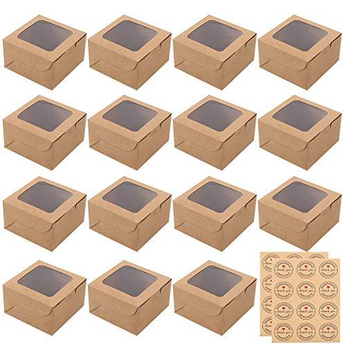 Pveath Mini-Boxen,24 Stück Kraft-Box mit Fenster und 24 Aufkleber,Kraft-Boxen für Lebensmittel,Cookie,Brot,Süßigkeiten,und Dessert,Geschenk-Box mit transparentem Sichtfenster,Partybehälter