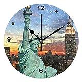 Sunop Uhr für Kinder mit Öl bedruckt, Freiheitsstatue und New York Skyline, Wanduhren für Wohnzimmer, Schlafzimmer und Küche, Vintage Schreibtisch & Regal Uhren