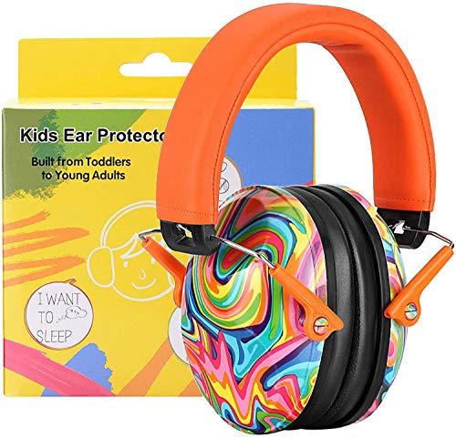 PROHEAR 032 [Mise à Niveau] Casque Anti Bruit Enfant Coussinets d'oreille Remplaçable, Protection Auditive avec Sac de Rangement, NRR 25dB pour Autisme, Feux d'artifice, Concerts(Orange)