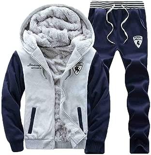 omniscient Men's Velvet Fleece Hoodies Sweatshirts and Jogger Pants Set Tracksuit